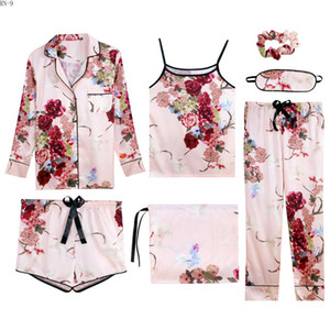 Wholesale 7pcs Suit Spring Lady Homewear Sling Tops Summer Women Silk Pajamas Set Lace Girls Sleepwear Women Loungewear Set Women s