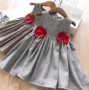 Wholesale 2019 Autumn new Girls plaid vest dress kids red Bows lattice princess dress children colorful polka dots pleated dress black coffee F9906