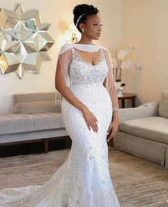Wholesale short dreses resale online - Custom Made Mermaid Weddding Dreses With Wrap Beading Crystal Lace Appliqued Sexy Spaghetti Bridal Dress African