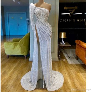 2020 Vintage White One Shoulder Prom Dresses Sexy Backless Sequined Mermaid Evening Gown Arabic High Side Split Formal Patry Dress on Sale