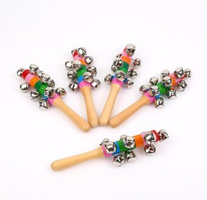Wooden Stick New style Jingle Bells Rainbow Hand Shake Sound Bell Rattles Baby Educational Toy 18cm DA096