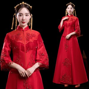 Wholesale Elegant Slim Chinese Bride Dress Red Ancient Women Marriage Cheongsam Suit Vintage Embroidery Qipao Stage Performance Clothes