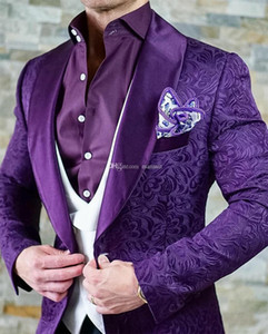 Wholesale harris tweed shawl for sale - Group buy Groom Tuxedos Groomsmen Shawl Lapel Custom Made Purple Men Suits Wedding Prom Dinner Best Man Blazer Jacket Pants Vest Tie M1298