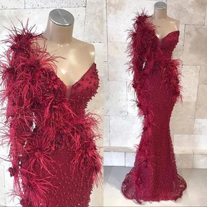 Wholesale Sexy Black Girls Pearls One Shoulder Burgundy Mermaid Prom Dresses 2019 Lace Beads 3D Floral Appliqued Evening Gowns Custom BC1809