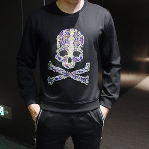 Wholesale Mens hooded design trend fashion heavy work embroidery round neck comfortable casual wild hoodie