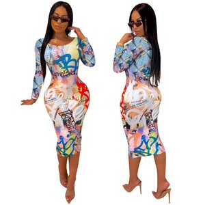 Womens Party Dresses Letter Printed Autumn Club Sexy Slim Long Sleeved Crew Neck Bodycon Dresses Womens Fashion Dresses