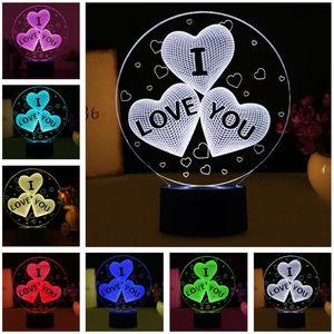Romantic Valentine I Love You 3D Balloons Heart Shape LED Night Light Mood Lamp HOT Wedding Party Decor Lovers Couple Sweetheart Xmas Gifts