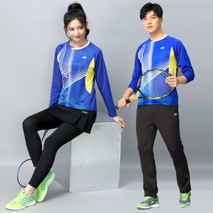 Wholesale Badminton clothing men and women long sleeved skirt pants suit quick drying large size tennis fitness running sportswear