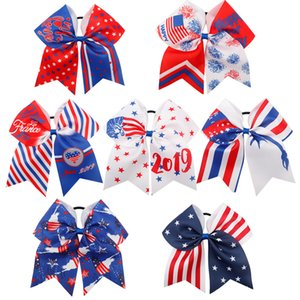 Wholesale 4th of July Cheer Bow baby headbands Patriotic Glitter Elastic Hair Ties Cheerleader Bow With Ponytail Holder For Girl Cheerleader