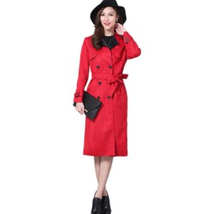 Plus Size 6XL Suede Trench Coat For Women New Spring Double Breasted Trench Coat Long Overcoat Elegant Outwear DF570 on Sale