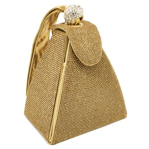 Wholesale Vintage Diamond Bridal Wedding Purse Mini Gray Pyramid Party Handbags Women Bag Wristlets Clutches Crystal Evening Clutch Bags