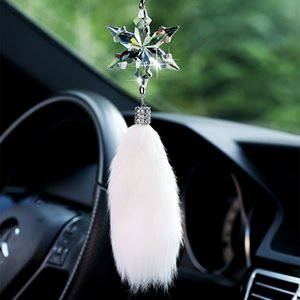 Wholesale car accessories for girls resale online - Crystal Snowflake Pendant In Car Rearview Mirror Auto Decor Car Hanging Accessory For Girls Christmas Gifts Luxury Pendants