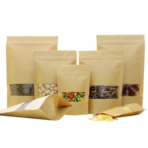 Wholesale Kraft Paper Bag Stand Up Gift Dried Food Fruit Tea Packaging Pouches Zip Lock Kraft Paper Window Bag Retail Zipper Self Sealing Bags