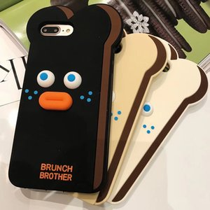 Wholesale 3D Cute Cartoon Toast Bread Bearded Soft Silicone Phone Back Coque Fundas Case Cover for iPhone X S Plus XR XS MAX