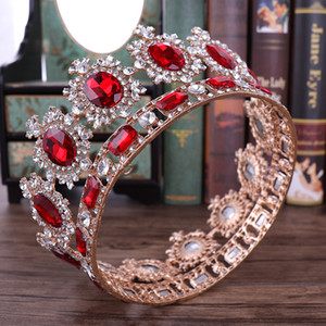 Wholesale Bridal Crown Queen Rhinestone Crystals Royal Wedding Crowns Crystal Stone Red Big Gold Headband Hair Studio Molding Party Tiaras