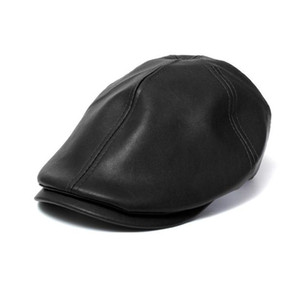Wholesale Clothes Mens Women Vintage cap unisex Leather Beret Cap Peaked Hat New boy girls Summer hats
