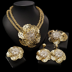 Wholesale dubai plated gold big set resale online - Yulaili African Pageantry Decorative Pattern Big Flower Fashion Thick Necklace Bracelet Earrings Ring Design Dubai Gold Jewelry Set