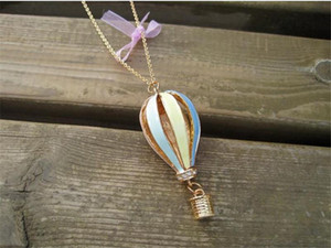 Wholesale Fashion Colorful Hot Air Fire Balloon Pendant Long Necklace Charm Sweater Chain TO127