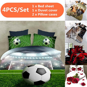 4pcs 3D Soccer Football Bedding Sets Bed Set Bedclothes for Kids Adults Bed Duvet Cover Sheet Pillowcase Duvet Cover