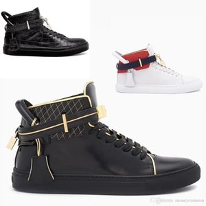 Wholesale Italy Top Cowhide Buscemi White Red Black Gold Lock Hight Top Sneakers Skate Shoes Men Women Designer Sport Casual Shoes Flats Mens Boots