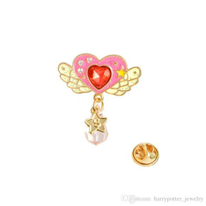 Wholesale cute Bow crystal Unicorn Castle brooch Moon Love Heart Shaped Pins animal Brooches With Beads Pink Jewelry For Girl Gift drop shipping