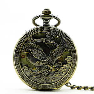 Wholesale Bronze Hawk Roman Eagle Mechanical Hand Winding Skeleton Pocket Watch Men Women Watch Witn Fob Chain PJX1199