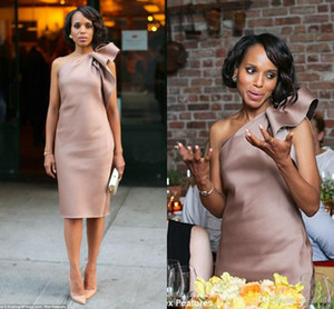 2019 New Kerry Washington Celebrity Dress Bridesmaid Party Gowns One Shoulder Bow Satin Knee Length Sheath Dusty Blush Club Cocktail Dresses on Sale