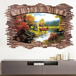Wholesale Natural Scenery Wall Stickers Home Decoration 3D Stereoscopic Waterproof Modern