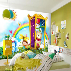 Wholesale wallpaper door murals for sale - Group buy custom size d photo wallpaper kids room mural door fairy tale world rainbow picture d sofa TV backdrop wallpaper non woven wall sticker