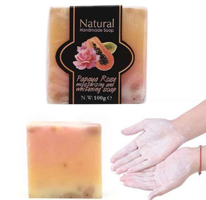 1pc Papaya Whitening Handmade Soap Lightening Skin Moisturizing Cleansing Bath Soap 111g 5.5cm x 5.5cm x 3cm