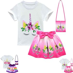 Unicorn Rainbow Dresses For Baby Girl Frock Clothes Summer Kid T Shirt+Skirt+shoulder bag 3PC Outfit Children Cartoon Print Clothes C12 on Sale
