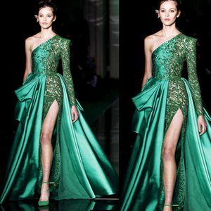 Wholesale Zuhair Murad Green Evening Formal Dresses 2019 One Shoulder Sexy High Split Prom Dresses Lace Applique Satin Party Running Fashion Gowns