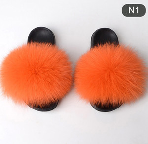 Wholesale New Summer Women Slippers Really Fur Fox Hair Slides Flat Plush Shoes Home Flip Flops Ladies Beach Sandals