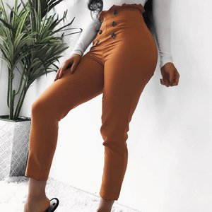 Wholesale High Waist Buttons Bodycon Pants Women 2019 Summer Ruffles Pencil Pants Stretchy Solid Casual Trousers Female