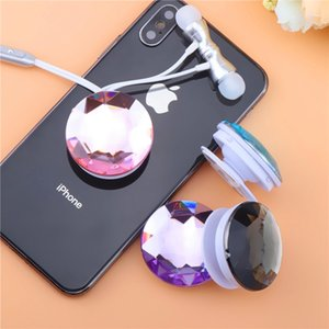 Wholesale Universal Crystal Diamond Gasbag Mobile Phone Holder Anti Drop Extensible Airbag Round Stand Bracket Mount Finger Ring