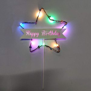 Wholesale Card Inserts Dessert Glitter Table Star Shape Gift Flag Decoration Happy Birthday Cake Topper Light Battery Powered Led Colorful