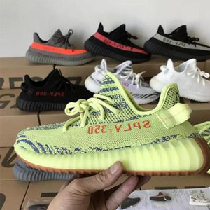Wholesale Sesame V2 Running Shoes Mens Womens Kanye West Static Cream white Bred Blue Tint Butter Designer Shoes Boots Size US5