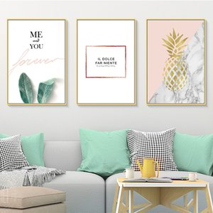 Wholesale Pineapple Marble Rabbit Ears Nordic Modern Canvas Painting Vintage Kraft Posters Coated Wall Stickers Home Decor Home Gift