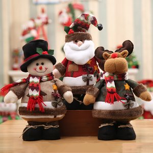 Wholesale 34cm Large Size Father Christmas Snowman Elk Doll Kids Gift Christmas Bow Scarf New Year Plush Standing Xmas Deer Navidad YWHB21