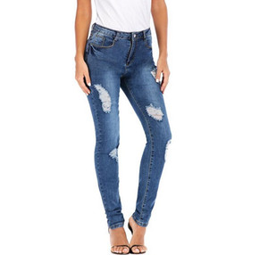 Fashion Designer Womens Stretch Ripped Sexy Skinny Jeans High Waisted Slim Fit Denim Pants Biker Pencil Trousers For Ladies 732