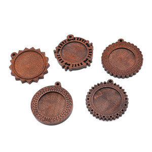 Wholesale 10pcs mm Wood Necklace Pendant Setting Cabochon Base Setting Dark Coffee Color Charms Pendant For DIY Jewelry Making