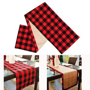 Wholesale tablecloth christmas for sale - Group buy 37 cm Double Sided Use Tablecloth Christmas Black Red Lattice Table Cover Xmas Party Dinner Decorative Tablecloth
