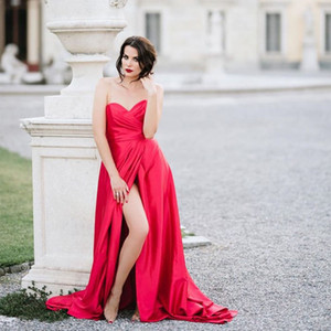 Wholesale Sexy Red Evening Dresses Front Split Pleats Sheath Special Occasion Gowns Chiffon Celebrity Long Prom Dresses Sweetheart Party Gowns 2019
