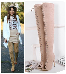 Wholesale Sexy women peep toe lace up over the knee thigh high boots designer shoes milan fashion size to