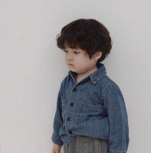 Wholesale 2019 Fall new kids denim shirt boys lapel long sleeve jean shirt children single breasted soft cowboy casual tops boy clothes F9250
