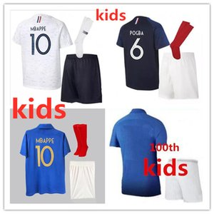 Wholesale Kids MBAPPE soccer jerseys GRIEZMANN POGBA Fr national team PAYET DEMBELE COMAN KANTE child football kit uniform football shirt