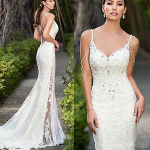 Sexy Spaghetti Straps Backless Mermaid Wedding Dresses 2019 Formal Lace Appliques Beaded Crystal Women Bridal Wedding Gowns robe de mariage on Sale