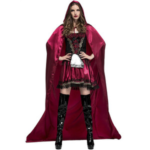 Wholesale Adult Women Halloween Costume Cosplay Little Red Riding Hooded Robe Lady Cosplay Dress Suits Cloak Outfit For Girls Plus Size Clothing S XL