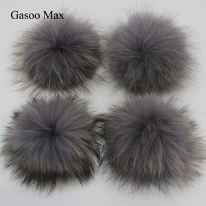 Wholesale 15pcs DIY cm Grey Black Yellow White Raccoon Fox Fur Pom Poms Real Genuine Fur pomopms Colors Can be Mixed
