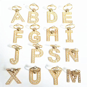 Wholesale Letter Stand iPhone Case Shell Degree Hook Universal Crystal Rhinestone Gold Phone Ring Stand Holder Mobile Phone Grip Ring